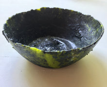 Load image into Gallery viewer, Black and Green Pate de Verre Bowl
