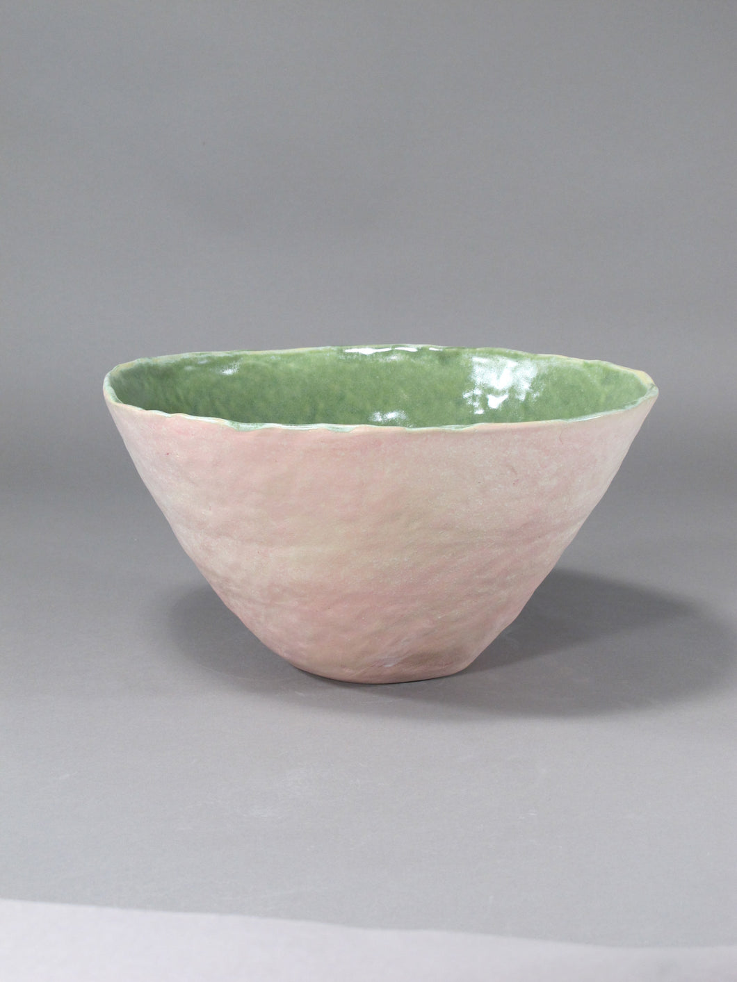 Pink and Green Stoneware Vessel