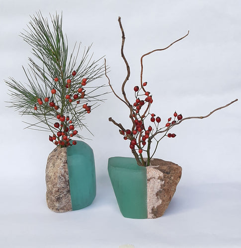 Stone and Recycled Glass Vases