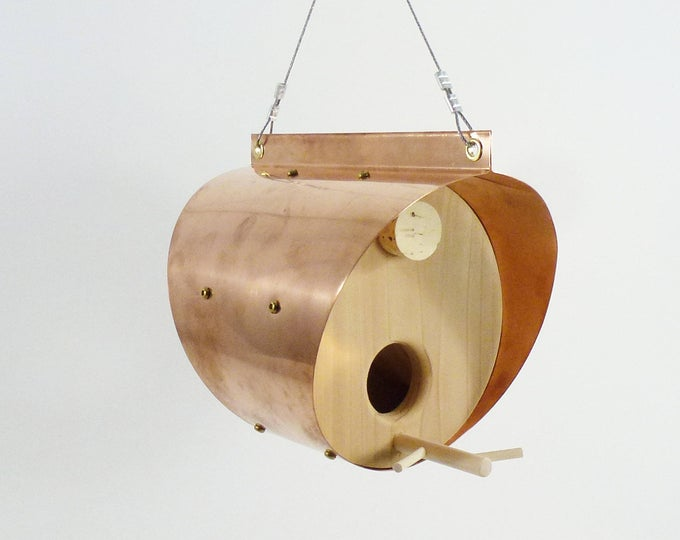 Hanging Copper Bird Feeder - The Barrel
