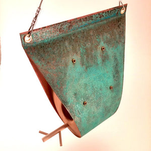 Hanging Oxidized Copper Bird Feeder - Teardrop