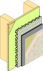 Drainscreen (black mesh layer) in a EIFS system