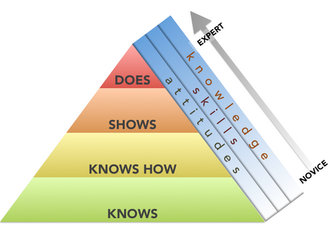 Competency based training pyramid diagram showing levels of knowledge moving from novice to expert.