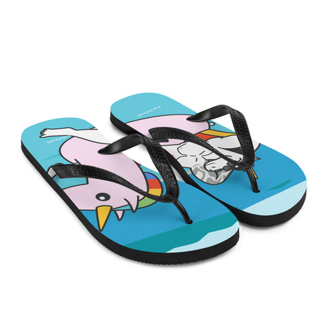 #unicorntrends Unicorn on an Unicorn Pool Float Flip Flops