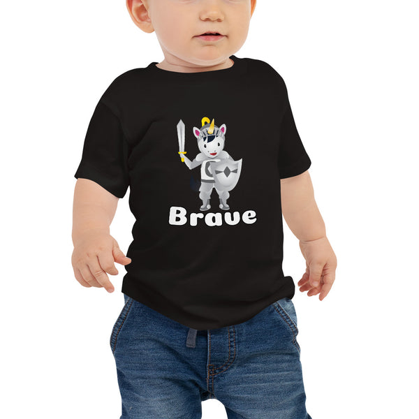 Brave Unicorn Baby Tshirt by Sovereign