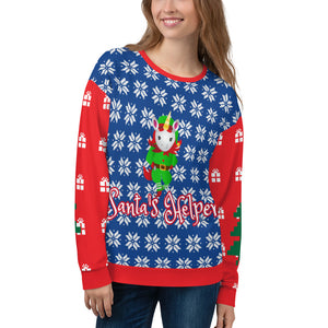Santa's Helper Unicorn Ugly Christmas Sweatshirt by Sovereign
