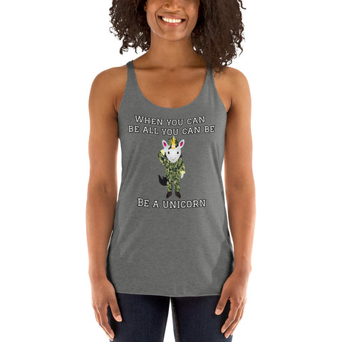 Lady Soldier Unicorn Racerback Tank by Sovereign