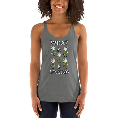 What a Blessing Unicorn Army Racerback Ladies Tank by Sovereign