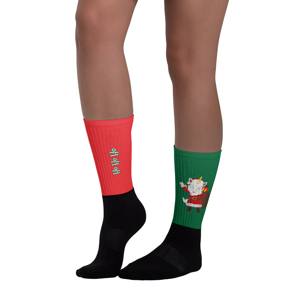 Ho Ho Ho Merry Christmas Santa and Santa's Helper Socks