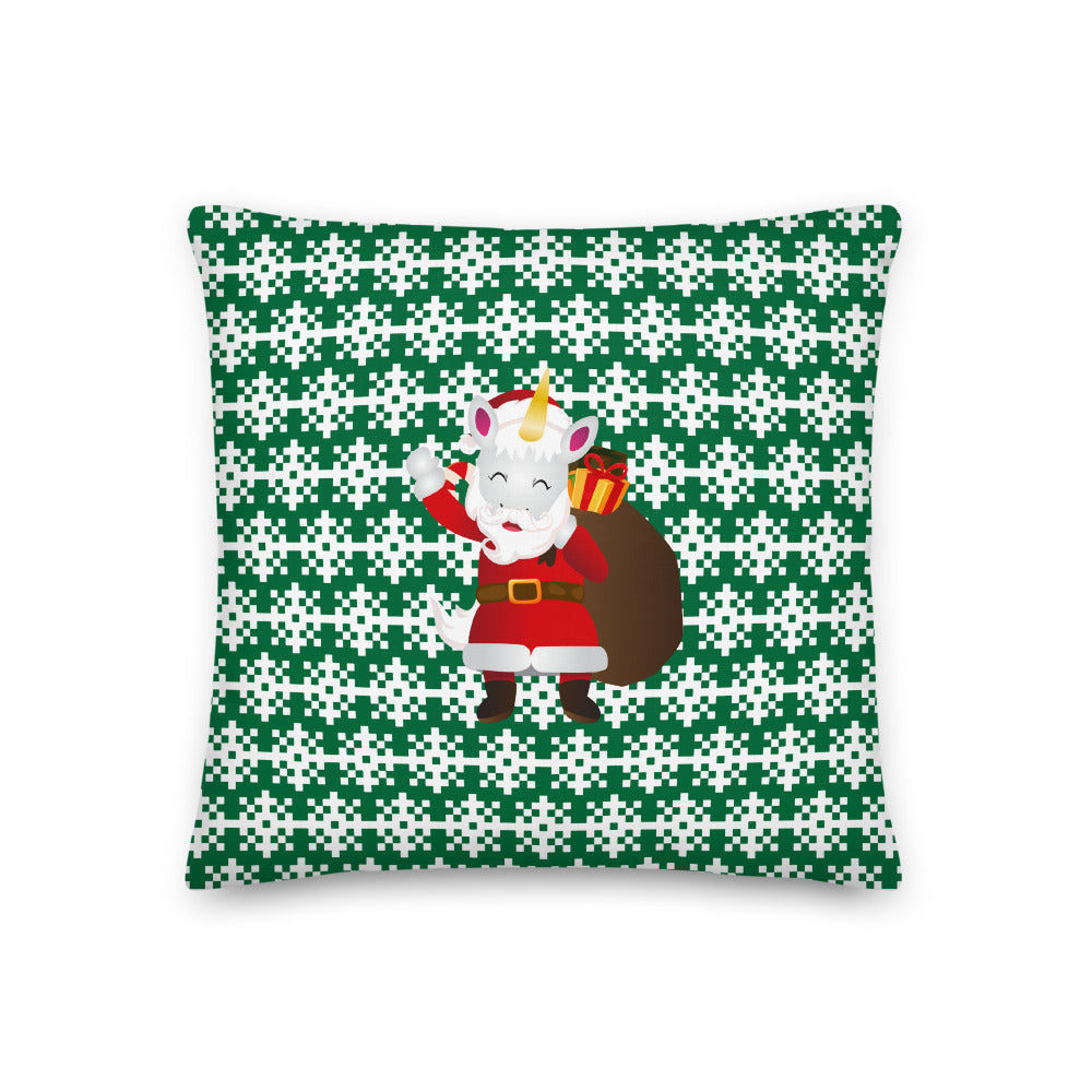 Santa Unicorn Ho Ho Ho Premium Pillow