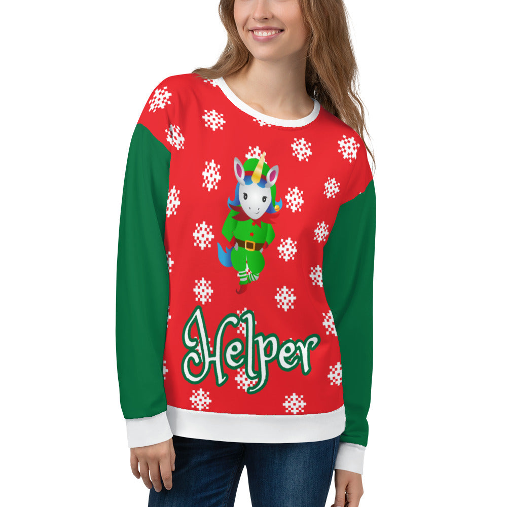 Helper Unicorn Ugly Christmas Sweatshirt by Sovereign
