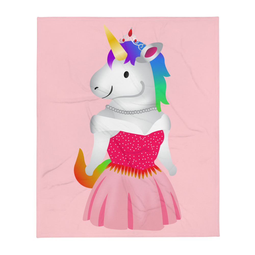 Unicorn Princess Throw Blanket by Sovereign