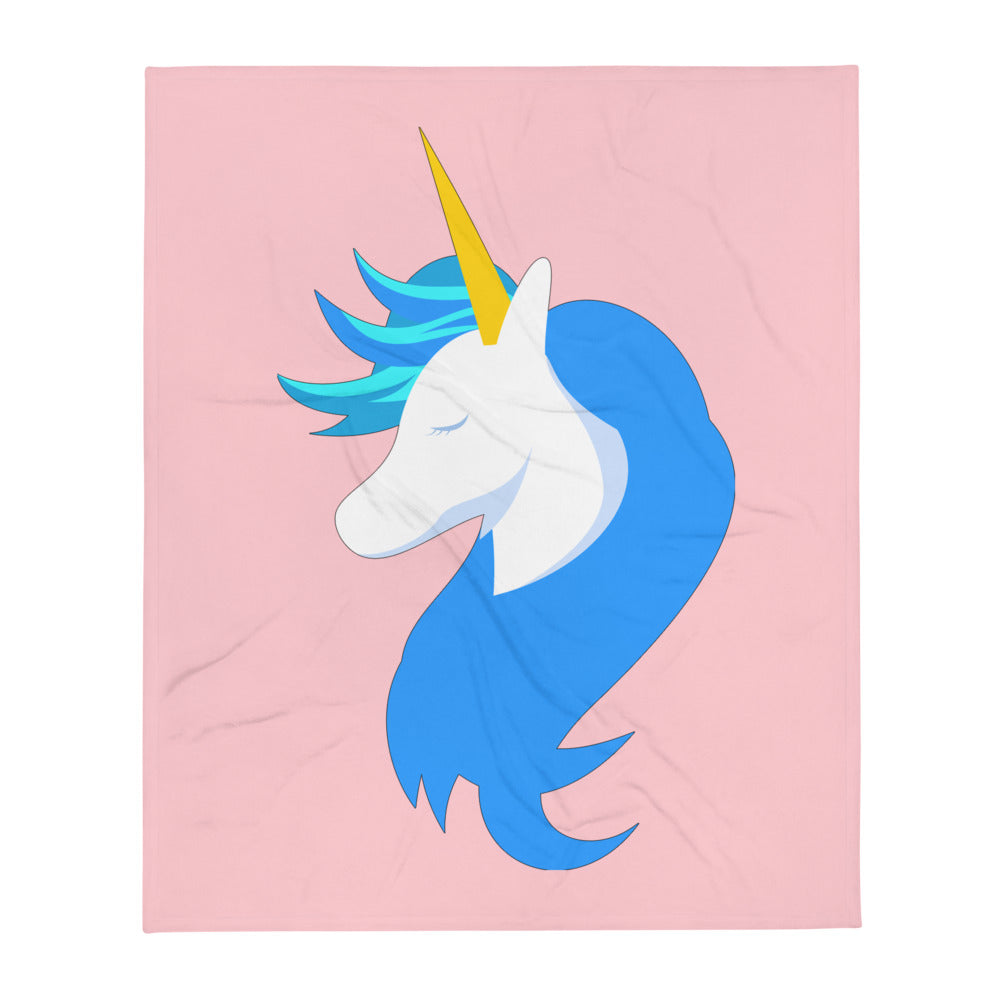Unicorn Logo Pink Throw Blanket by #unicorntrends
