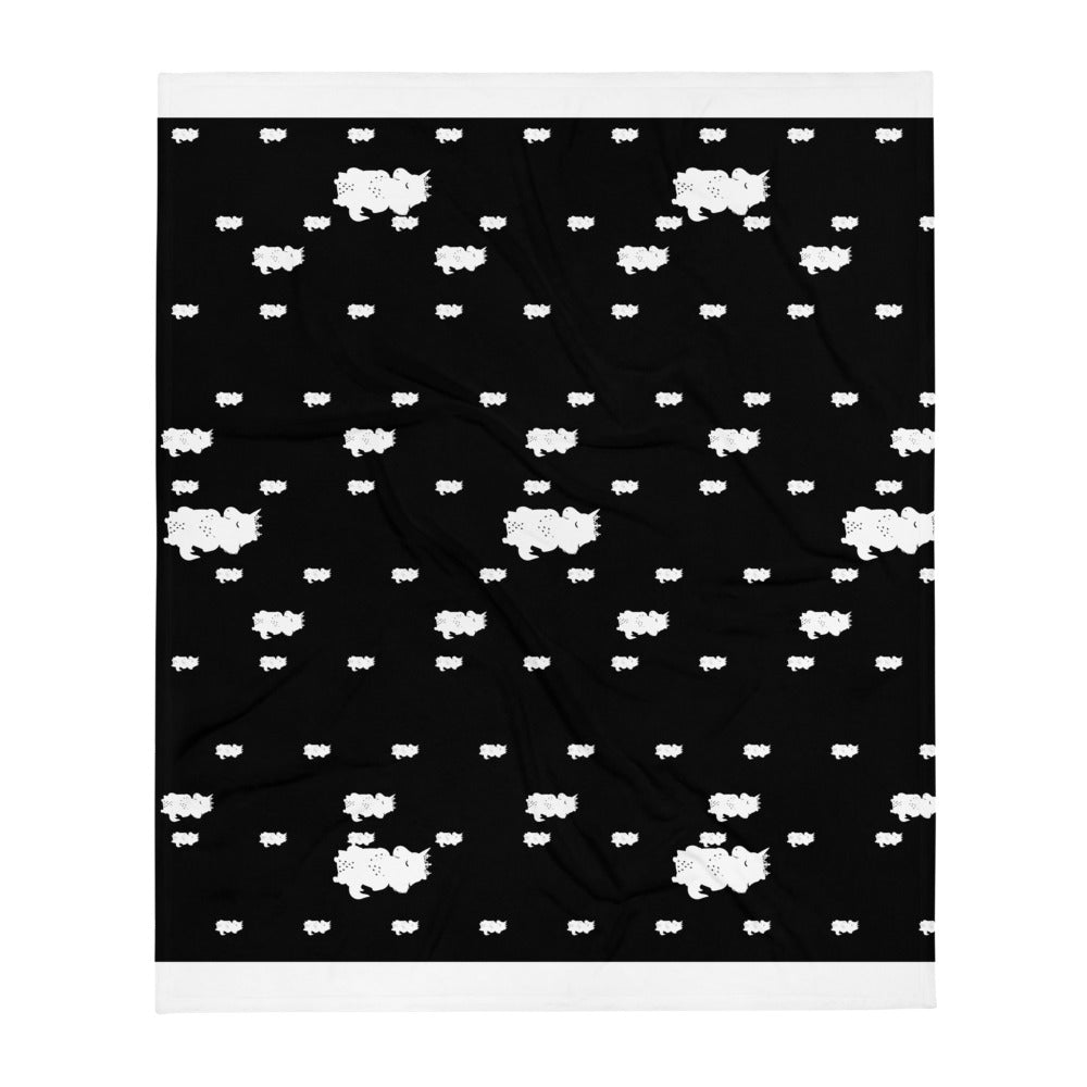 Unicorn Queen Black and White Throw Blanket by Sovereign