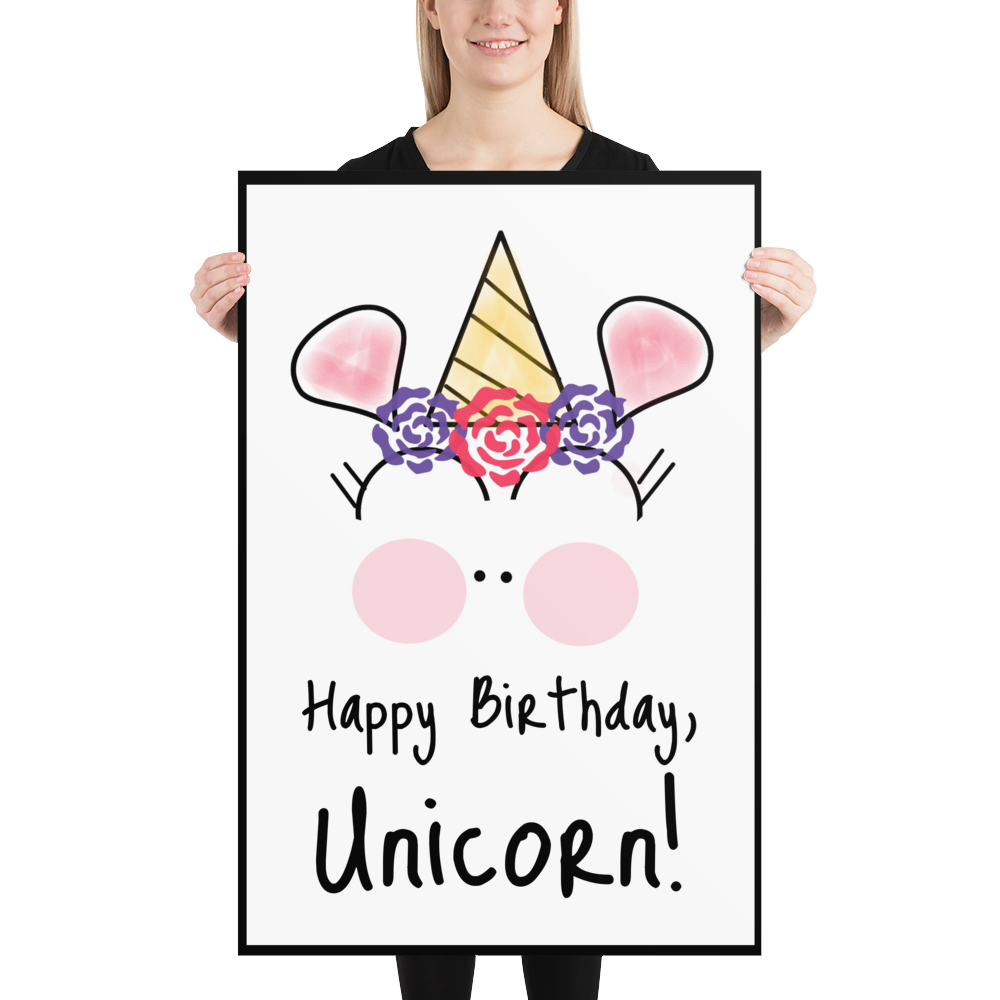 Customizable Basic Party Time Unicorn 24x36 Poster by #unicorntrends