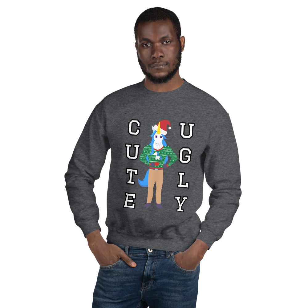 Cute Ugly Unicorn Wearing a Cute Ugly Unicorn Christmas Sweatshirt by #unicorntrends