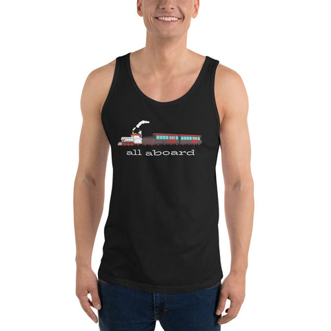 All Aboard the Unicorn Express Unisex Tank Top by #unicorntrends