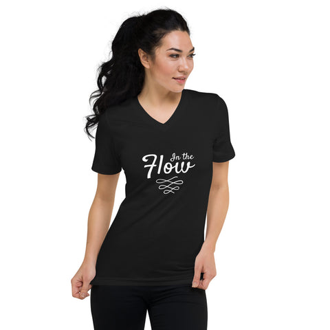 In the Flow Unisex Short Sleeve V-Neck T-Shirt by #unicorntrends