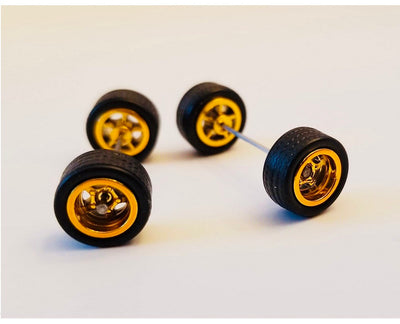10CM 5-Spoke Gold Wheels and Black Tires Kit