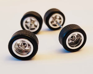 10CM 5-Spoke Chrome Wheels and Black Tires Kit