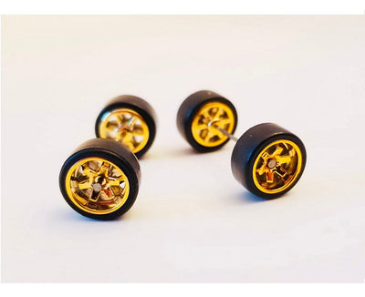 10CM 6-Spoke Gold Chrome Wheels and Black Tires Kit