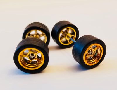 12CM 5-Spoke Gold Wheels and Black Tires Kit