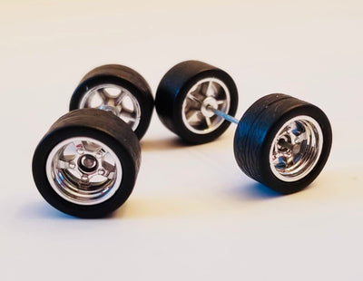 12CM 5-Spoke Chrome Wheels and Black Tires Kit