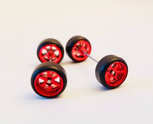 10CM 6-Spoke Red Chrome Wheels and Black Tires Kit