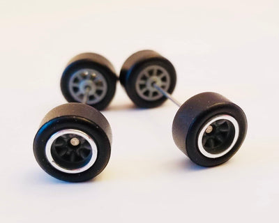 10CM 8-Spoke Gray Chrome trim Wheels and Black Tires Kit