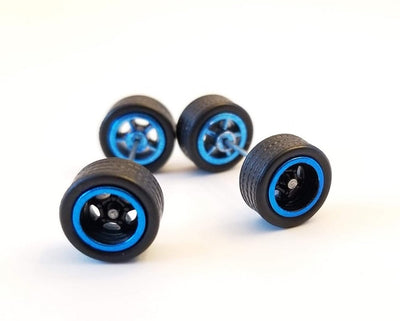10CM 5-Spoke Black Blue trim Wheels and Black Tires Kit