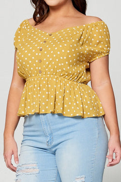 The Polka Yellow Polka Dot Peplum Top The Green Brick Boutique Contact peplum tops on messenger. usd