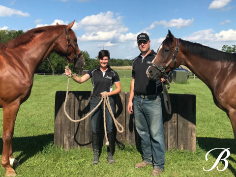 Nicki and David with their mares.