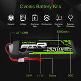 Ovonic 5500mAh 3S 11.1V 50C Lipo Battery with T Plug for DJI F450 Quadcopter Airplane Helicopter Car Truck Boat Hobby (2 Packs) - Go High Drone