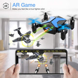 Drone for Kids - Attop Drones with Camera for Kids, AR Game Mode RC Mini Drone w/App Gravity/Voice Control/Trajectory Flight/Altitude Hold 360°Flip Kids Drone Foldable & Portable-Blue - Go H