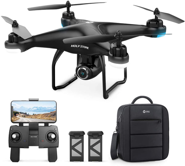 Holy Stone HS120D GPS Drone with Camera for Adults 2K UHD FPV, Quadcotper with Auto Return Home, Follow Me, Altitude Hold, Tap Fly Functions, Includes 2 Batteries and Carrying Backpack - Go H