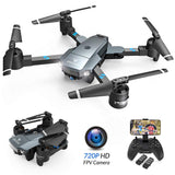 SNAPTAIN A15 Foldable FPV WiFi Drone with 120°Wide-Angle 720P HD Camera,Voice Control/Trajectory Flight,Portable Quadcopter with Altitude Hold Mode/G-Sensor/3D Flips/Headless Mode/One Key Re
