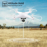 40Mins Flight Time Drone, JJRC H68 RC Drone with 720P HD Camera Live Video FPV Quadcopter with Headless Mode, Altitude Hold Helicopter with 2 Batteries(20Mins + 20Mins)-White - Go High Drone