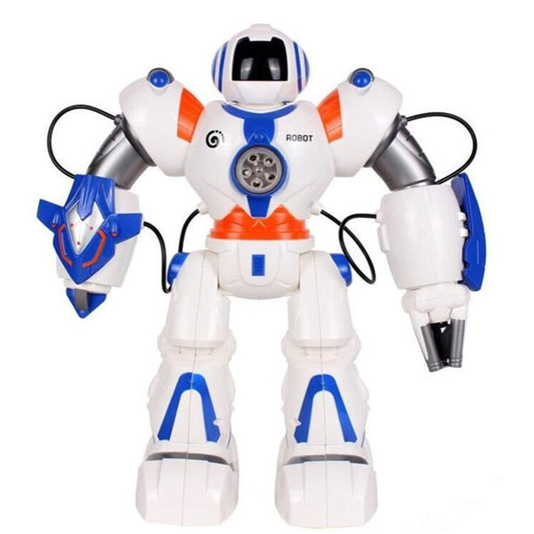Intelligent Multi-functional Smart RC Robot  Dancing and Musical RC Robot Electronic Toy Shooting Shots RC Battle Robot Toy Gift (White) - Go High Drone