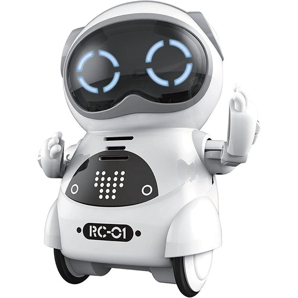 Mini RC Pocket Robot for Kids with Interactive Dialogue Conversation, Voice Recognition, Chat Record, Singing& Dancing (White) - Go High Drone