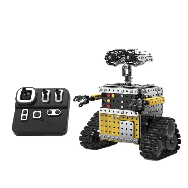 728PCS Remote Control Blocks Assembly Robot 2.4G 10CH DIY Steel Smart Obstacle Avoidance Walking RC Robot Toy for Children (Silver) - Go High Drone