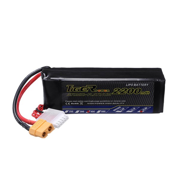 Tiger Power 14.8V 2200mAh 45C 4S Lipo Battery XT60 Plug for RC Drone Airplane - Go High Drone