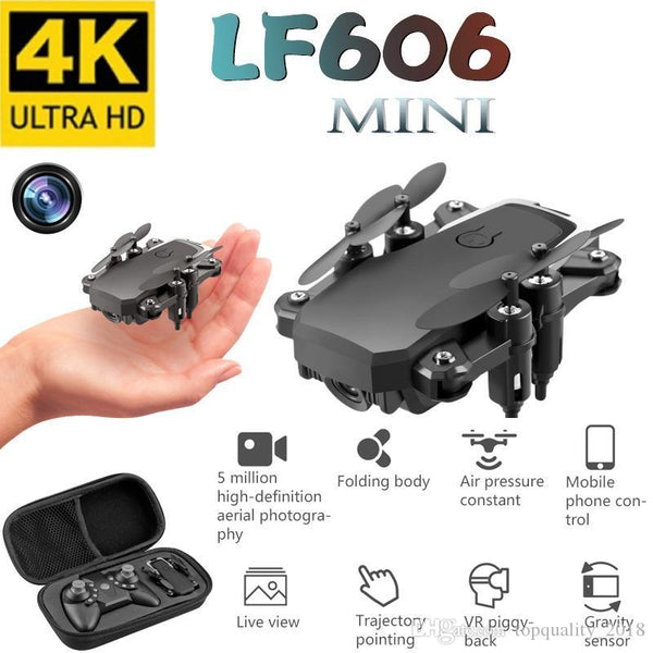LF606 Wifi FPV Foldable RC Drone with 4K HD Camera Altitude Hold 3D Flips Headless Mode RC Helicopter Aircraft Airplane - Go High Drone
