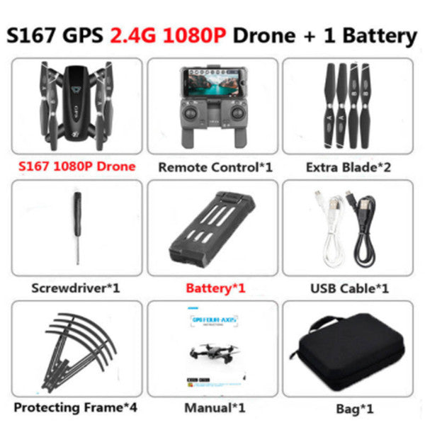 S167 GPS Folding Quadcopter RC Drones 4K HD Camera 5G WiFi FPV 1080P RC Helicopter With Camera 4 Channel RC Aircraft - Go High Drone