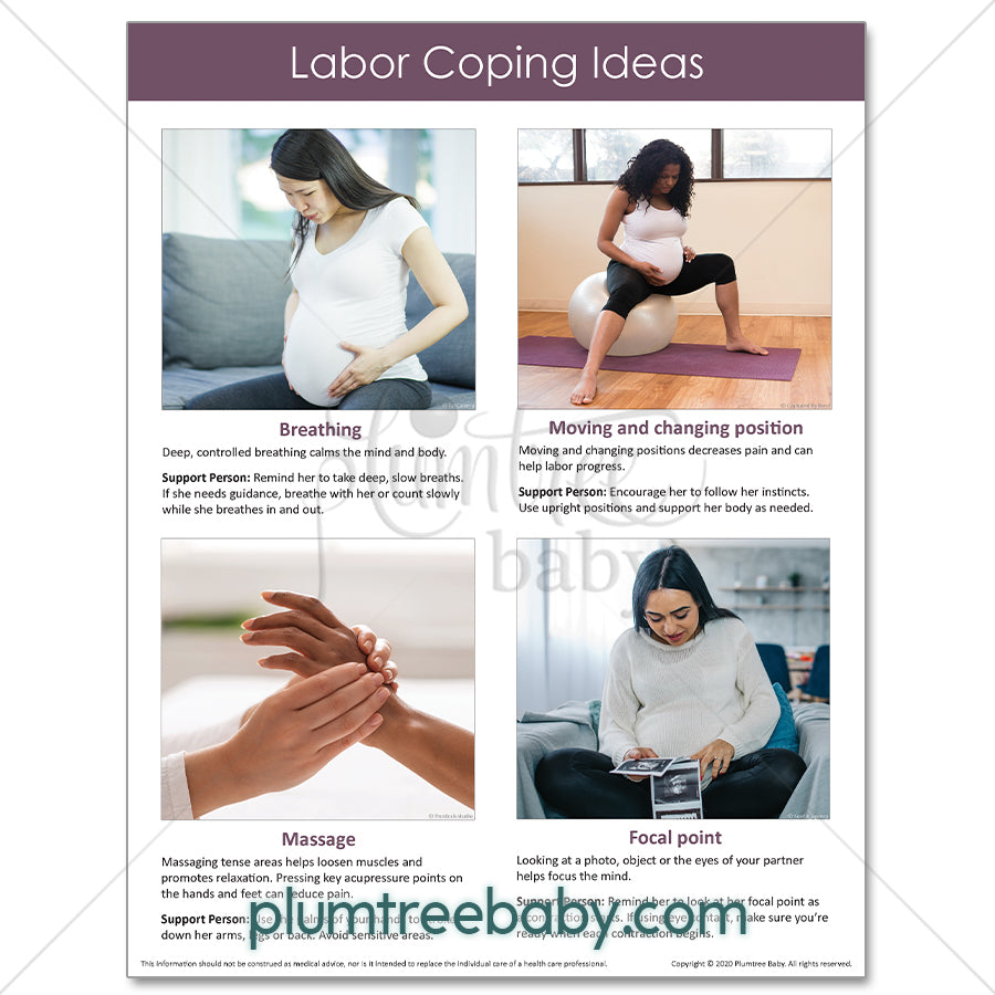Labor Coping Handouts - Pack of 50-Handout-Plumtree Baby