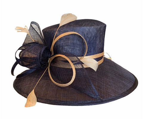 Navy and Beige Sinamay Hat