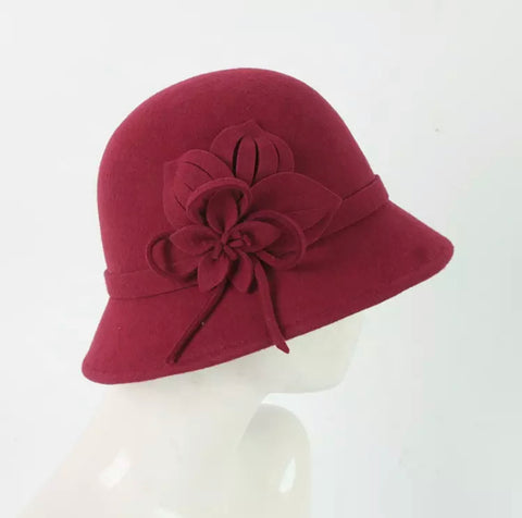 Red 100% wool felt hat