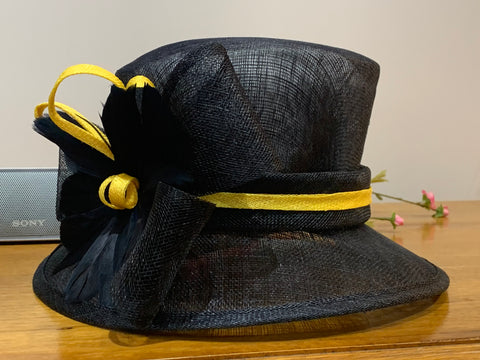 Black and Gold Sinamay Hat