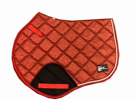 Red Glitter Jump saddle pad
