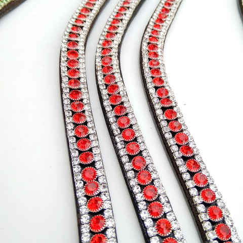 Red and Silver Crystal Browband