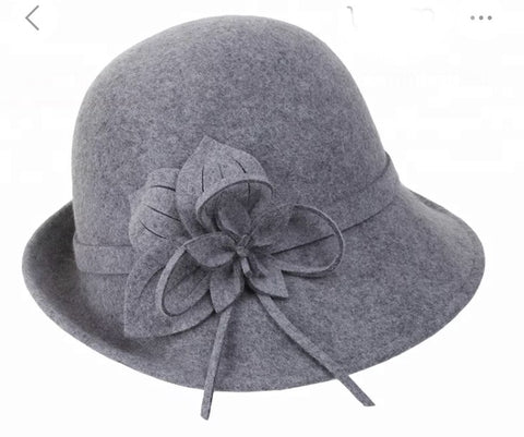 Grey 100 % Wool Felt hat